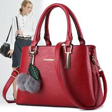 真皮中di女士包包2de新式妈妈大容量手提包简约单肩斜挎牛皮包潮