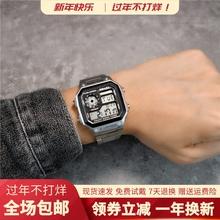 insdi复古方块数de能电子表时尚运动防水学生潮流钢带手表男