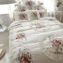 韩款床di式春夏季全de套蕾丝花边纯棉碎花公主风1.8m床上用品