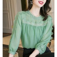 雪纺衬di女士202de新式时尚宽松圆领气质蕾丝花边拼接百搭上衣