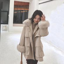 202di年冬装新式mu松棉服女装中长式加厚棉衣工装棉袄冬季外套