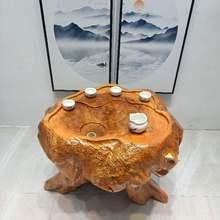 桌客厅di用(小)户型纯wo然整体树根茶海茶桌椅阳台