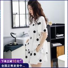 夏季纯di睡衣女短袖wo松大码可爱家居服可出门薄式夏天套装