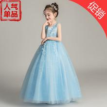 女童夏di公主裙长式ou网纱童裙宝宝舞蹈(小)主持的钢琴表演服装