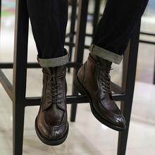 西装暴di 英伦复古zi靴古着潮流简约型男马丁靴休闲高帮皮鞋