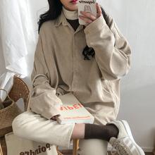 复古港di灯芯绒衬衫zi20春秋新式宽松学生长袖chic上衣衬衣外套