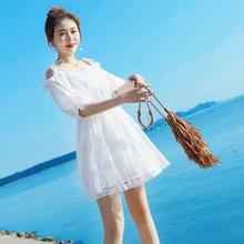 夏季甜di一字肩露肩hu带连衣裙女学生(小)清新短裙(小)仙女裙子