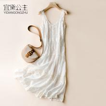 泰国巴di岛沙滩裙海ux长裙两件套吊带裙很仙的白色蕾丝连衣裙