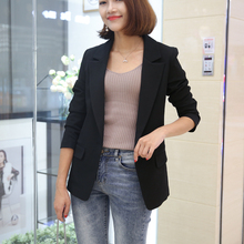 (小)西装di套女202ar新式韩款修身显瘦一粒扣(小)西装中长式外套潮