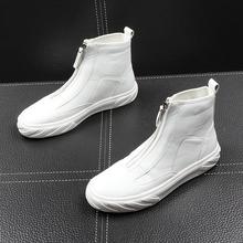 春夏季di色高帮男鞋on哈潮流休闲鞋韩款男士短靴拉链高帮皮靴