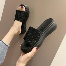 女士凉di鞋2021on式松糕底百搭时尚高跟外穿水钻厚底一字拖鞋