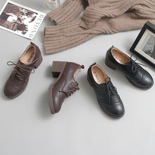 伯爵猫di021春季en跟(小)皮鞋复古布洛克学院英伦风女鞋高跟单鞋