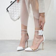 透明高di鞋女细跟2en春夏中空包头凉鞋女性感一字扣尖头高跟单鞋