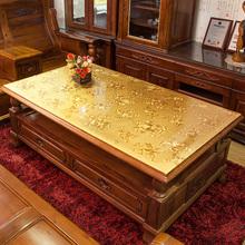 pvcdi料印花台布en餐桌布艺欧式防水防烫长方形水晶板茶几垫