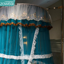 宫廷落di蚊帐导轨道onm床家用1.5公主风吊顶1.2米床幔伸缩免安装