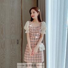 3时尚di衣裙女士2on夏季新式韩款修身喇叭袖格子亮片短袖裙子女