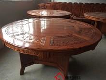 新中式di木仿古雕花on米12的火锅大圆台酒店桌椅组合