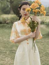 夏季女di式少女(小)清on裙套装背带裙长式过膝学生显瘦洋气减龄
