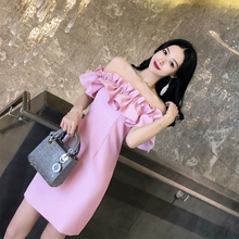 泰国潮di02021ng抹胸一字领漏背派对名媛性感连衣裙女