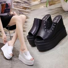 凉拖鞋di夏时尚20ao搭韩款鱼嘴厚底外穿坡跟12cm超高跟一字拖鞋