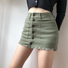 LOCdjDOWN欧st扣高腰包臀牛仔短裙显瘦显腿长半身裙防走光裙裤