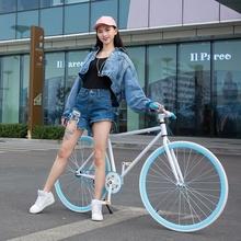 死飞变dj自行车男双is把减震复古公路赛女式竞速跑实心胎单车
