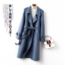 202dj女士秋冬装yh中长式羊毛大衣双排扣修身浅蓝浅绿羊绒外套