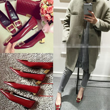 202dkRV方扣粗22浅口平底鞋新式中跟方头女鞋真皮高跟酒红婚鞋