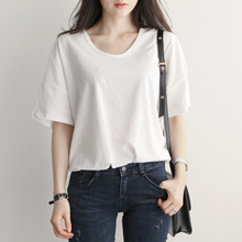 夏装新dk女装落肩袖yc流宽松棉质圆领短袖白色T恤上衣打底衫