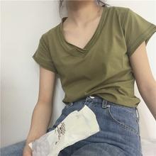 muzdl定制 橄榄ts柔白/浅米灰/黑 的手一件的纯棉短袖V领T恤女