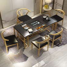 火烧石dm中式茶台茶fa茶具套装烧水壶一体现代简约茶桌椅组合