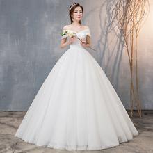 一字肩dm面婚纱礼服zp0新娘新式赫本(小)个子齐地简约韩式修身显瘦