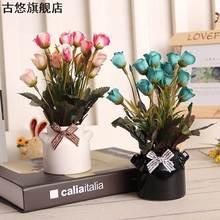 卧室布dm瓶装家庭(小)zp设酒柜装饰品摆件摆饰客厅假花拍照桌上