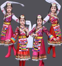 儿童藏族演出dm3藏族女童zp民族舞蹈幼儿水袖衣服表演服装