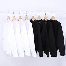 拉里布朗270g重磅白色圆领长袖T恤dn15棉春夏ne女款打底衫