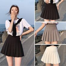 百褶裙dn夏灰色半身ch黑色春式高腰显瘦西装jk白色(小)个子短裙