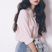 棉麻衬do女设计感(小)um2021春装新式韩款宽松百搭气质学生立领