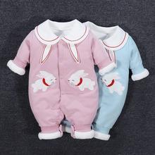 婴儿夹do衣服连体衣al宝宝公主春秋冬装满月薄棉外穿外出秋装