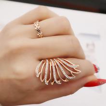 日韩时尚个do食指女 镀ai玫瑰金翅膀羽毛镂空夸张指环开口女