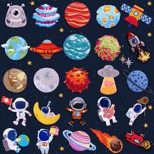 宇宙星do宇航员刺绣id服修补diy手帐甜甜圈包装饰贴