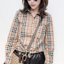 薄款时尚复do撞色格子欧exan2021春季港味衬衫女韩款宽松内搭潮