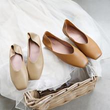 复古奶do鞋女平底一ot大码秋季低跟女鞋2020新式方头单鞋浅口