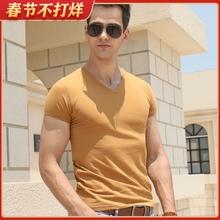 夏装短do莫代尔t恤a2款修身半袖上衣体恤男式弹力鸡心领打底衫