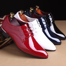 男士特大码do2鞋45亮ul色皮鞋46红色尖头婚鞋47加48