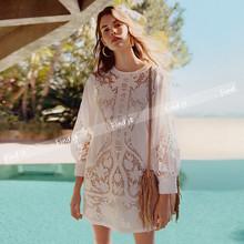 F欧美do货 波西米ec刺绣蕾丝勾花镂空白色连衣裙 夏新式2件套