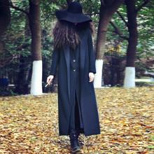 202do新式秋冬女gb双面呢宽松超长式西装领呢子大衣羊毛呢外套