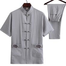 爸爸装do袖唐装亚麻st的中国风爷爷夏季中老年男装汉服50岁60