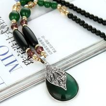[dpfot]韩版叶子水滴猫眼石长款项