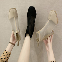 网红粗dp凉鞋女20ot季新式马丁短靴子透气网面镂空凉靴高跟网靴
