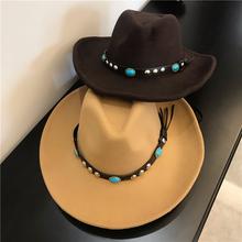 欧美风西部大牛仔帽铆钉毛呢帽dp11男女士ot游登山藏式礼帽